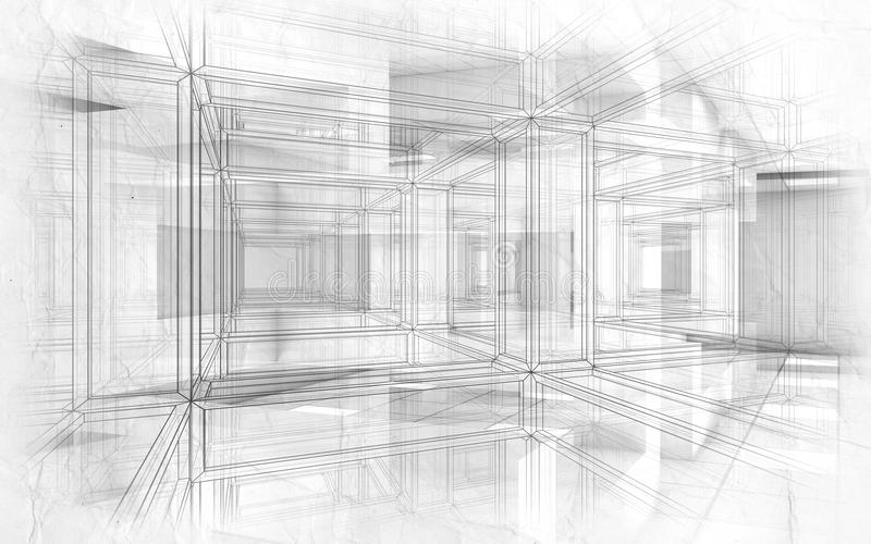 Intérieur de pointe abstrait du fond 3d de dessins illustration de vecteur