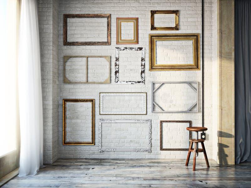 Intérieur de résumé des cadres de tableau vides classiques assortis contre un mur de briques blanc avec les planchers en bois dur photos stock