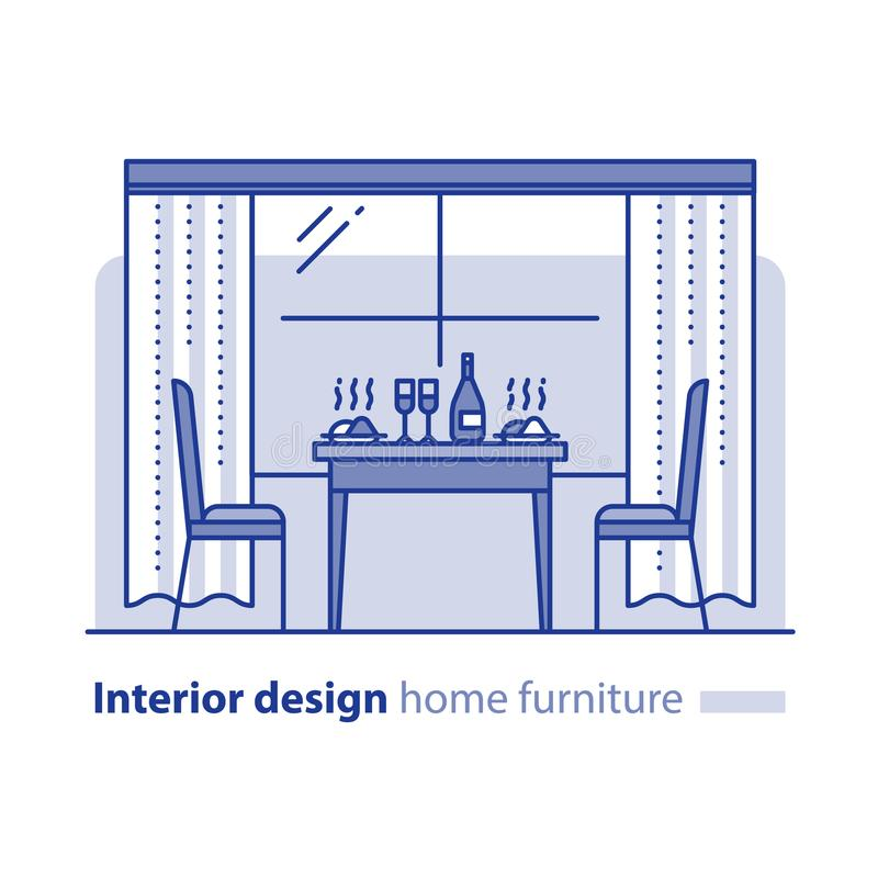 Intérieur de restaurant, table de cuisine à la maison, salle à manger, articles de meubles illustration libre de droits
