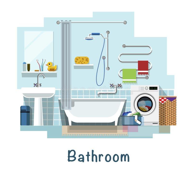 Intérieur de salle de bains illustration de vecteur