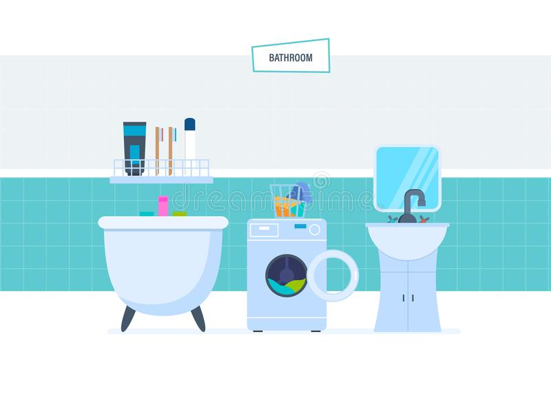 Intérieur de salle de bains, avec des appareils électroménagers, meubles, articles de ménage, architecture illustration libre de droits