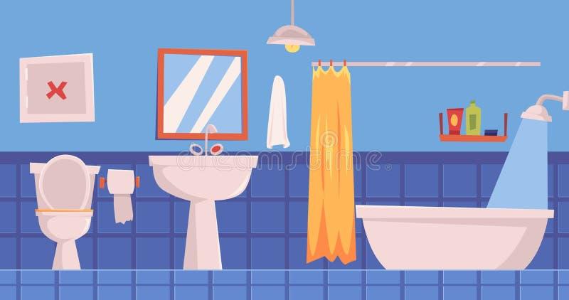 Intérieur de salle de bains avec le fond plat d'illustration de vecteur de miroir et de meubles illustration stock