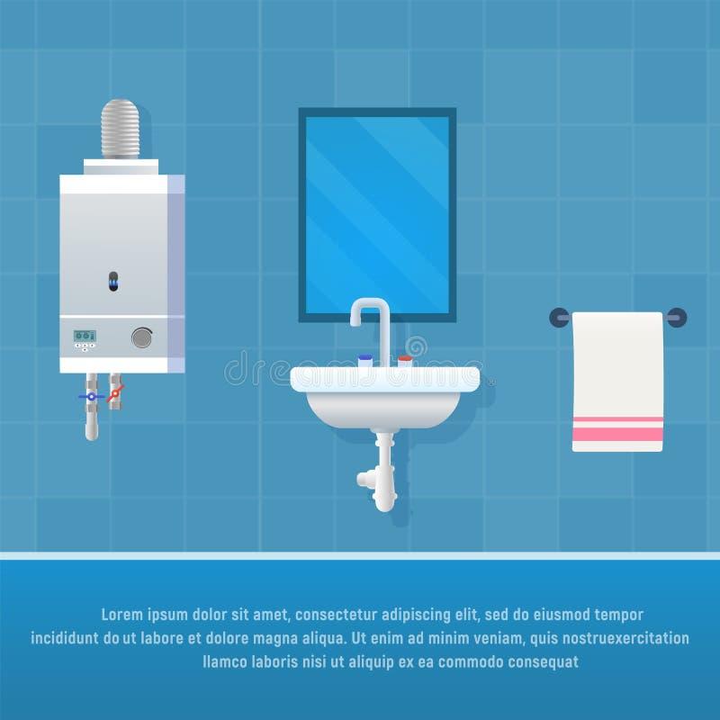 Intérieur de salle de bains de concept d'illustration de vecteur illustration de vecteur