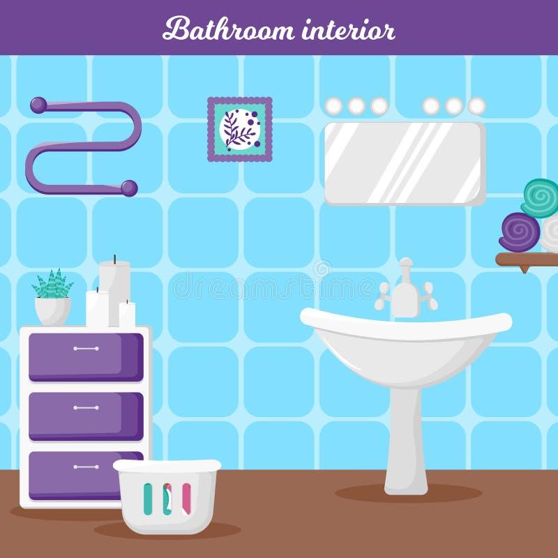Intérieur de salle de bains dans le style de bande dessinée illustration libre de droits