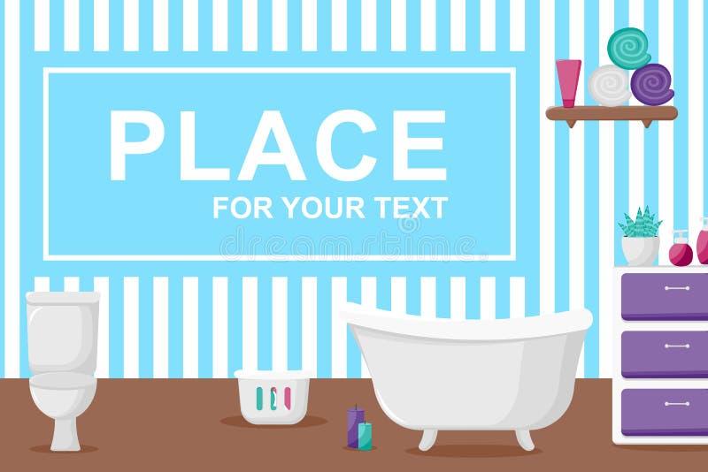 Intérieur de salle de bains dans le style de bande dessinée illustration stock