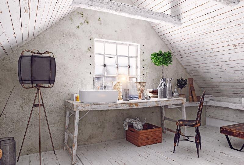 Intérieur de salle de bains de grenier illustration de vecteur