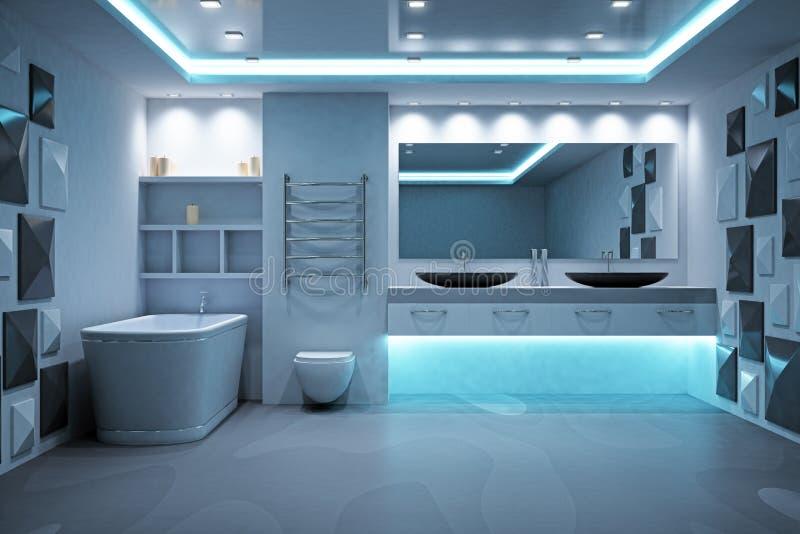 Intérieur de salle de bains lumineux par bleu illustration libre de droits