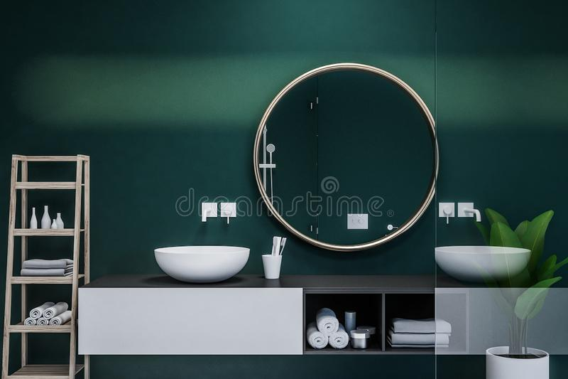Interieur De Salle De Bains Classique Avec Le Rendu Rond Du Miroir