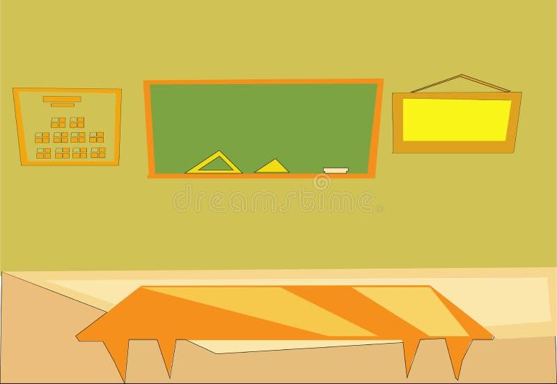 Intérieur de salle de classe de vecteur Concept éducatif, pièce de mathématiques, tableau noir, bureaux, fournitures scolaires E illustration de vecteur
