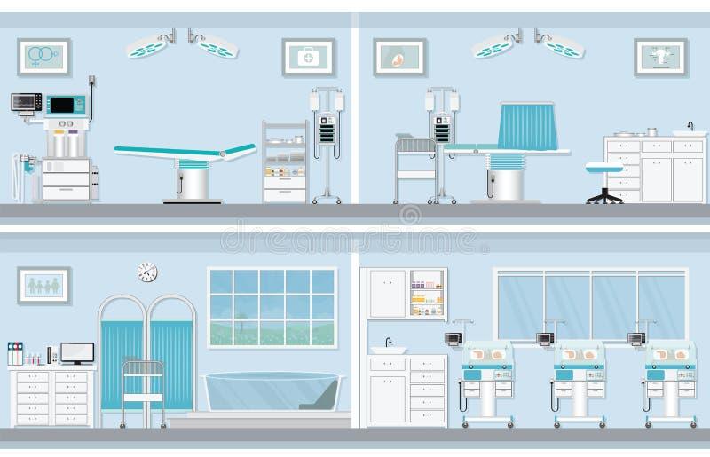 Intérieur de salle d'opération pour l'accouchement de la femme enceinte illustration de vecteur