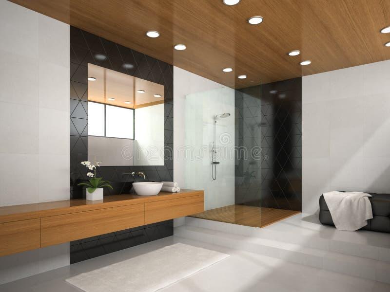Int rieur de salle de bains avec le plafond en bois illustration stock illustration du objet - Plafond de salle de bain avec spot ...