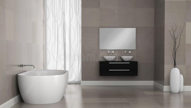 Intérieur de salle de bains moderne avec des murs de tuile de granit illustration de vecteur