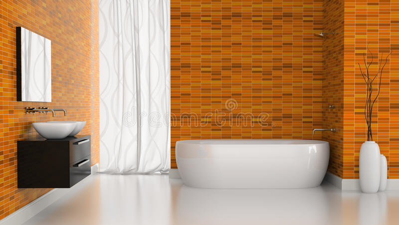 Intérieur de salle de bains moderne avec les murs oranges de tuiles illustration de vecteur