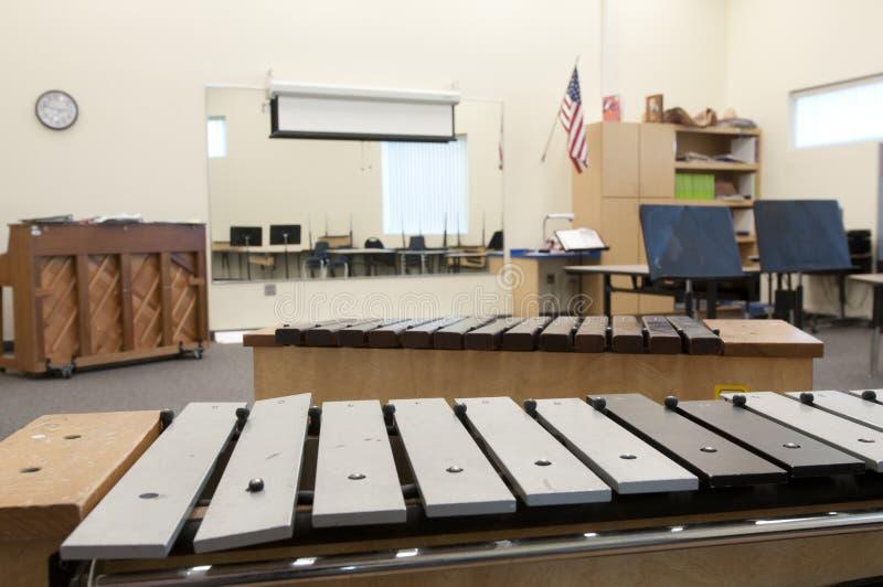 Intérieur de salle de classe de musique images libres de droits