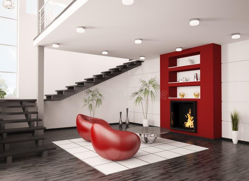 Intérieur de salle de séjour avec la cheminée 3d illustration stock