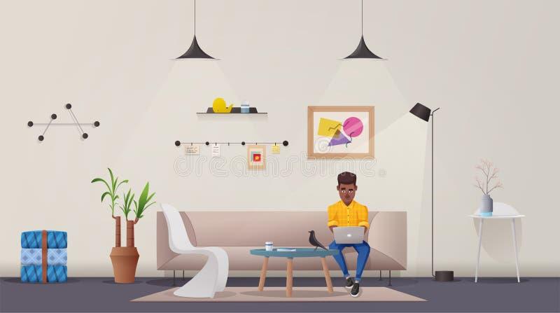 Intérieur de salle de séjour Appartement moderne scandinave ou conception de grenier Illustration de vecteur de dessin animé illustration de vecteur