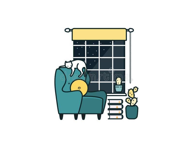 Intérieur de salle de séjour Détendez avec des livres Vecteur illustration libre de droits