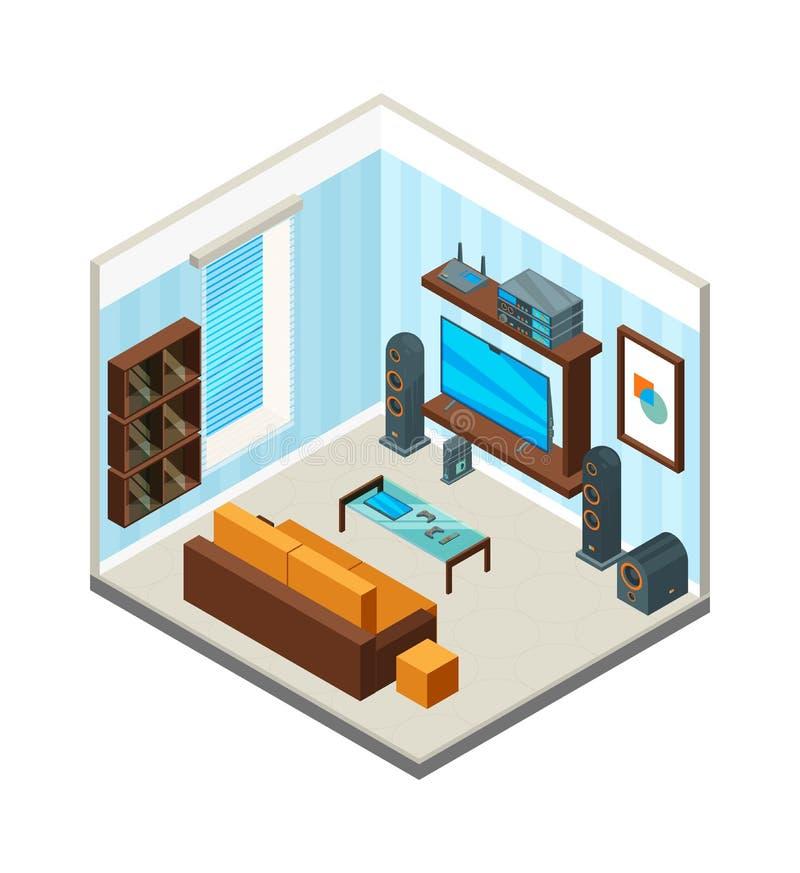 Intérieur de salle de séjour Image isométrique de vecteur de système audio d'ordinateur de poste TV de console de table de théâtr illustration libre de droits