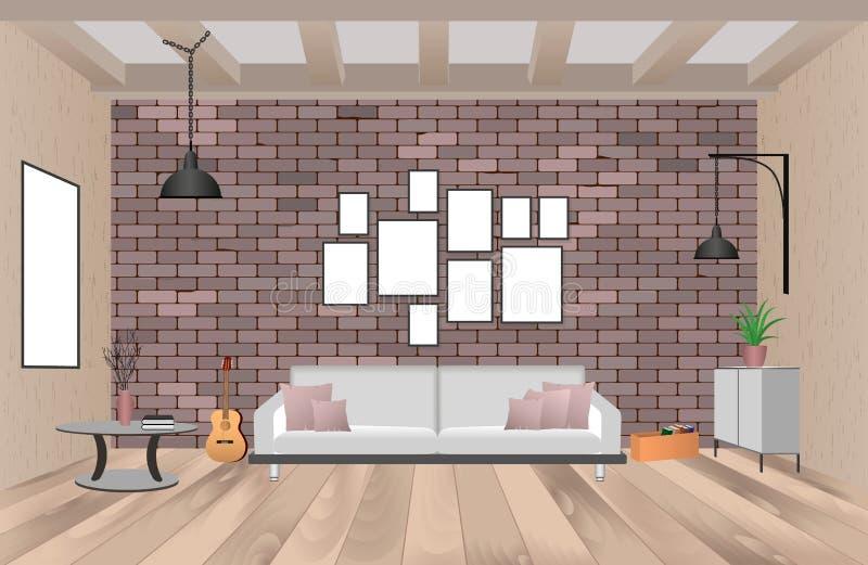 Intérieur de salon avec des meubles dans le style de hippie avec les cadres, le sofa, les lampes, la guitare et le mur de briques illustration de vecteur