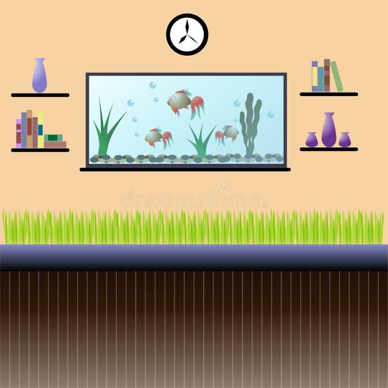 Intérieur de salon avec l'aquarium, les étagères, l'horloge et l'indoo photo libre de droits