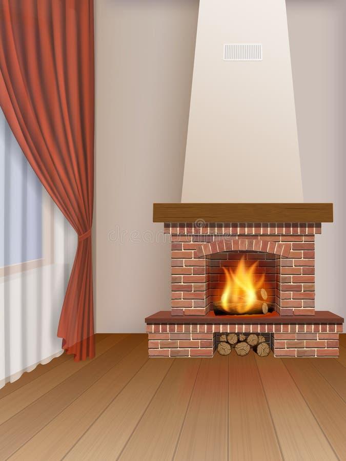 Intérieur de salon avec la cheminée illustration stock