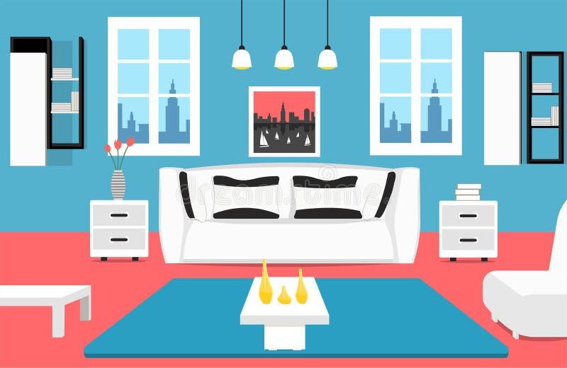 Intérieur de salon avec le grand sofa blanc, 2 fenêtres, la table, l'image et le tapis photographie stock libre de droits