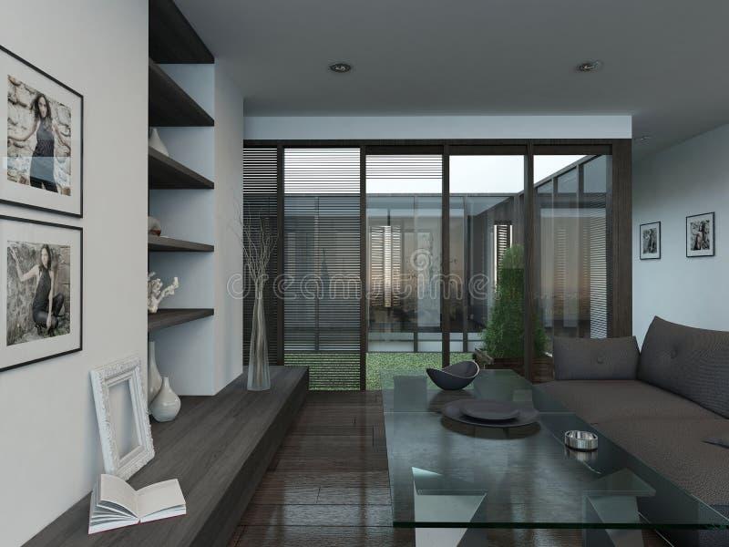 int rieur de salon avec le plancher de divan et de parquet illustration stock illustration du. Black Bedroom Furniture Sets. Home Design Ideas