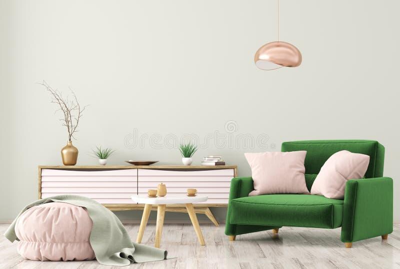 Intérieur de salon avec le rendu de raboteuse et de fauteuil 3d illustration stock