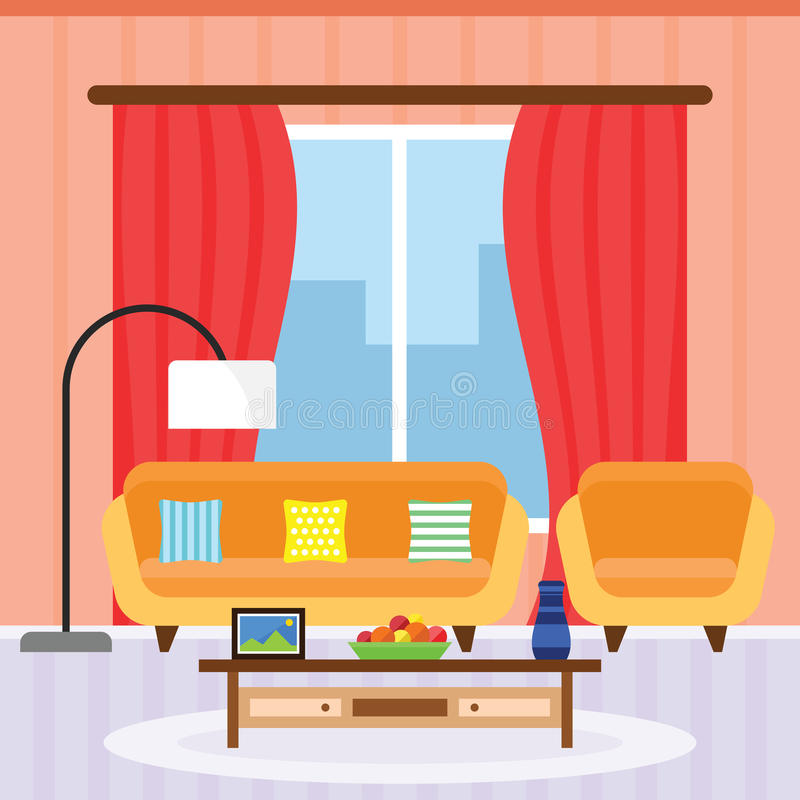 Intérieur de salon dans une conception plate photos libres de droits
