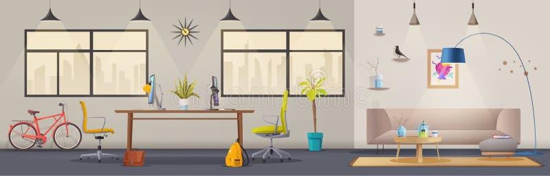 Intérieur de salon et de bureau Appartement moderne scandinave ou conception de grenier Illustration de vecteur de dessin animé illustration stock