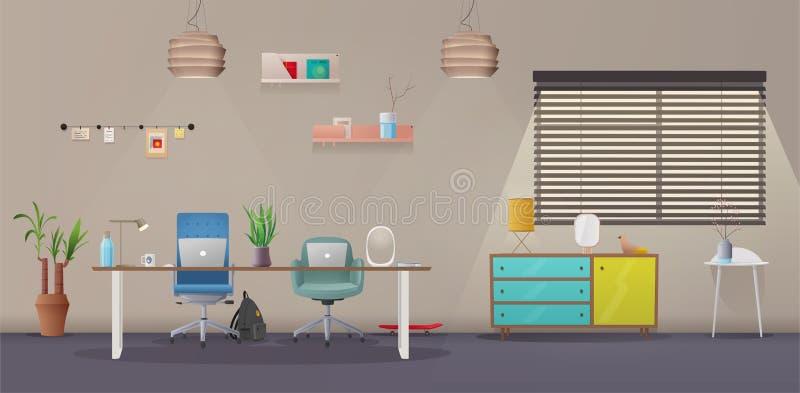 Intérieur de salon et de bureau Appartement moderne scandinave ou conception de grenier Illustration de vecteur de dessin animé illustration libre de droits