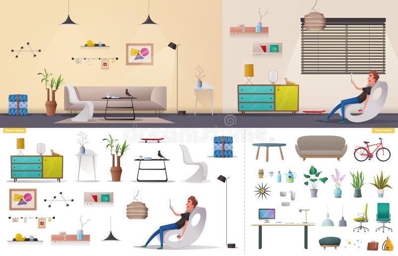 Intérieur de salon et de bureau Appartement moderne scandinave ou conception de grenier Illustration de vecteur de dessin animé illustration de vecteur