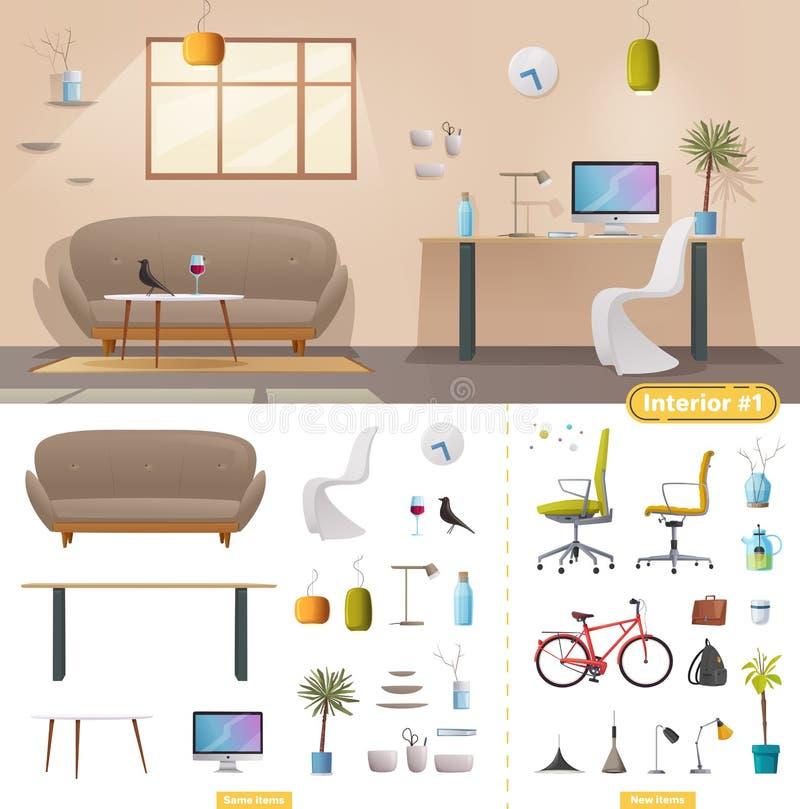 Intérieur de salon et de bureau Appartement, Scandinave ou conception moderne de grenier illustration stock