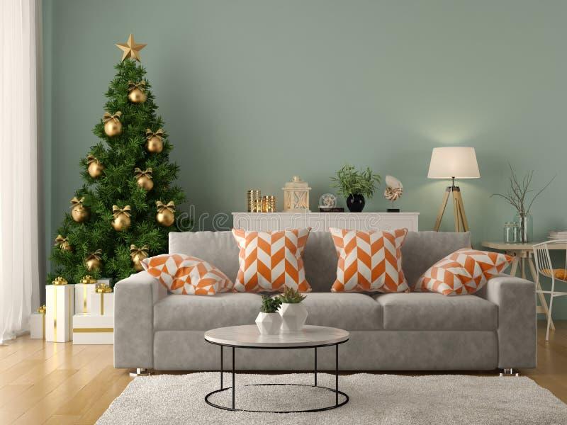 Intérieur de salon moderne avec le rendu de l'arbre de Noël 3D illustration libre de droits