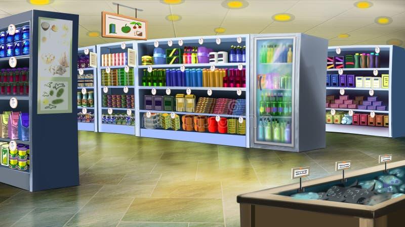 Intérieur de supermarché Image 01 illustration de vecteur