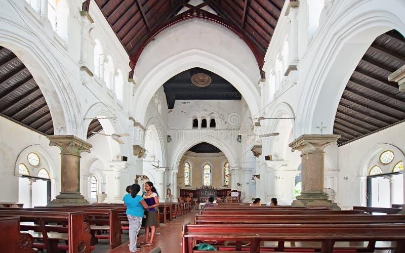 Intérieur de toute l'Église Anglicane de saints à Galle Sri Lanka images libres de droits