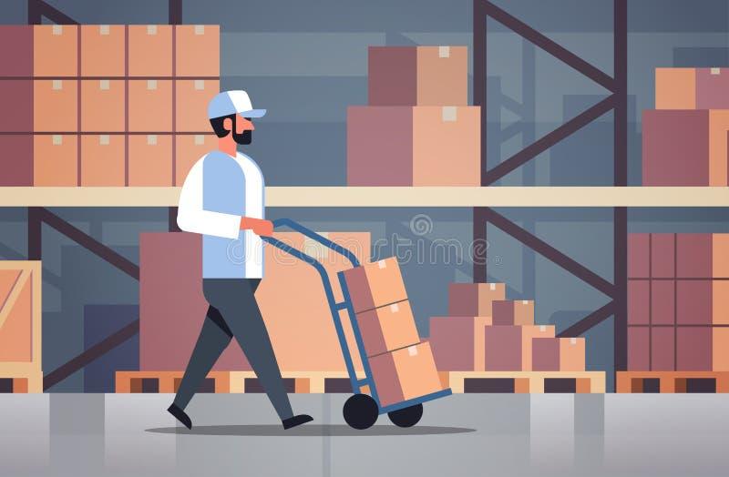 Intérieur de transport de roulement de pièce d'entrepôt de camion de colis de messager de chariot à chariot à cargaison de boîte  illustration stock