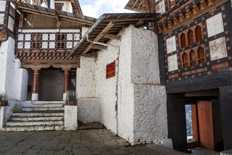 Intérieur de Trongsa Dzong au Bhutan images libres de droits