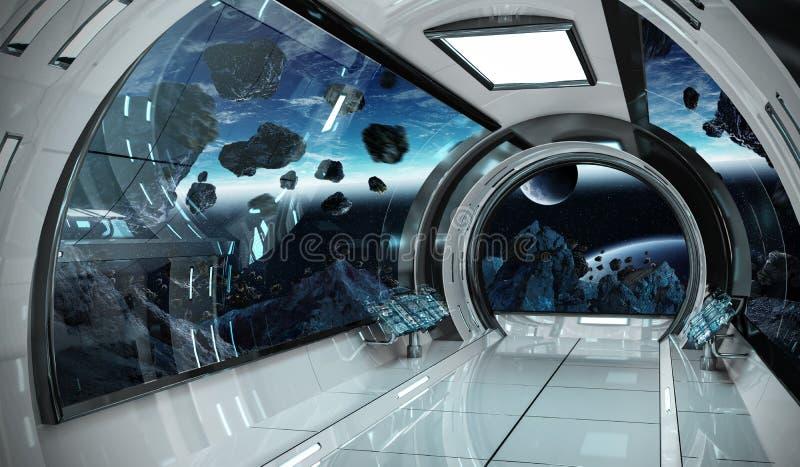 Intérieur de vaisseau spatial avec la vue sur des éléments de rendu de la terre 3D de t illustration de vecteur