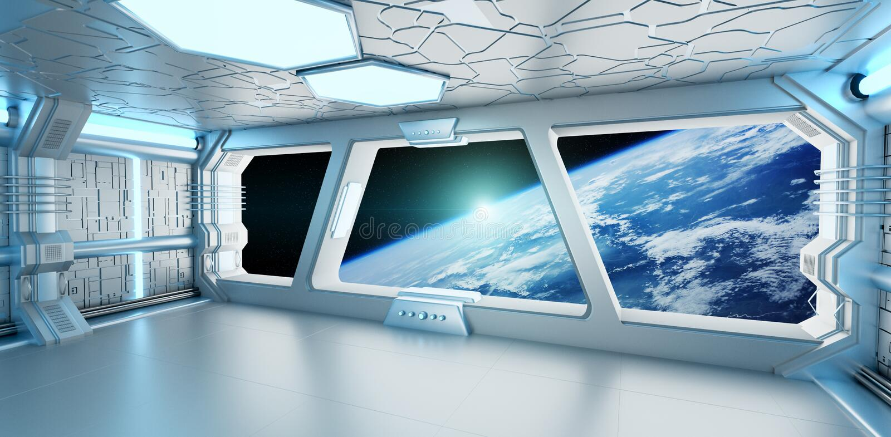 Intérieur de vaisseau spatial avec la vue sur la terre 3D de planète rendant l'EL illustration stock