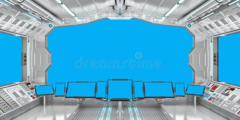 Intérieur de vaisseau spatial avec la vue sur le rendu bleu des fenêtres 3D illustration stock