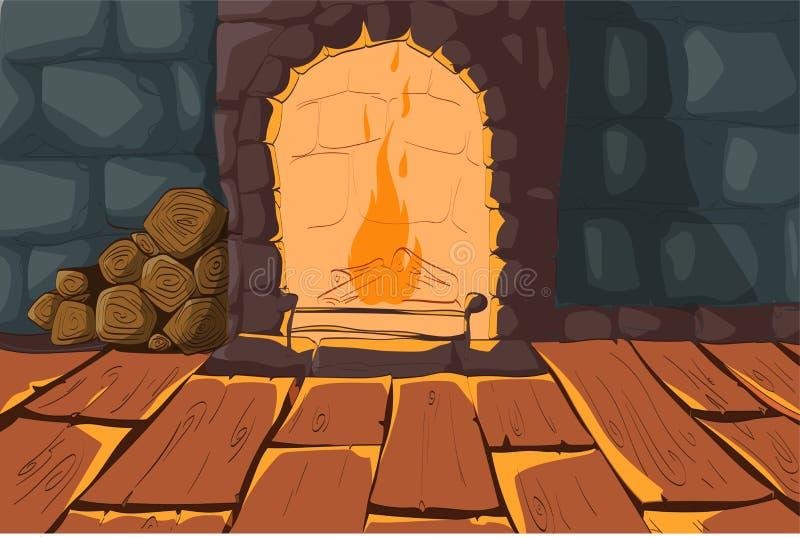 Intérieur de vecteur avec la cheminée et les murs en pierre illustration libre de droits