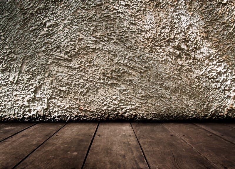 Intérieur de vintage de vieux mur en pierre et de plancher en bois photos libres de droits
