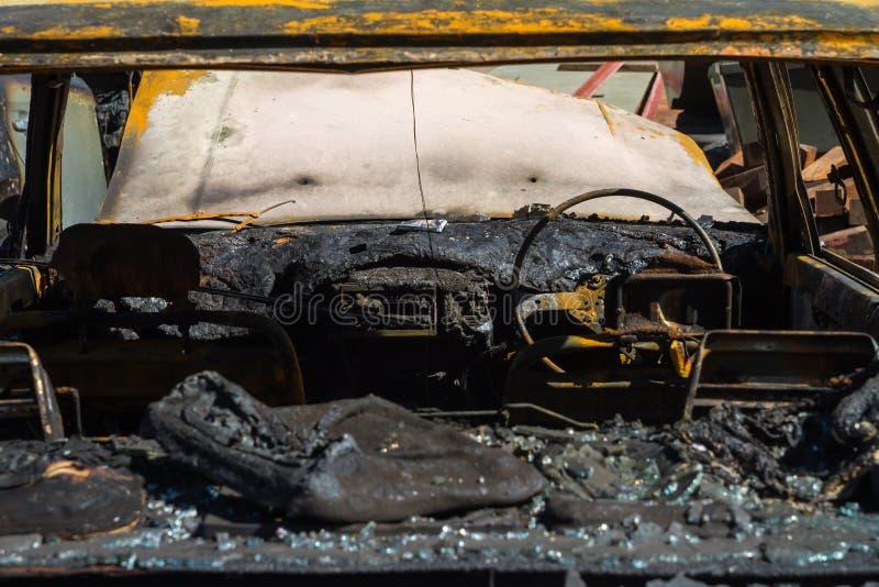 Intérieur de voiture après le feu image libre de droits