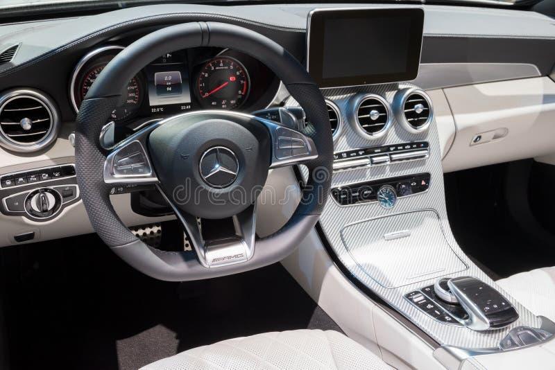 Intérieur de voiture de Mercedes AMG image libre de droits
