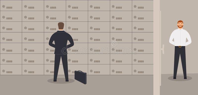 Intérieur du bureau de banque : l' homme d' affaires se tient près des coffres-forts illustration stock