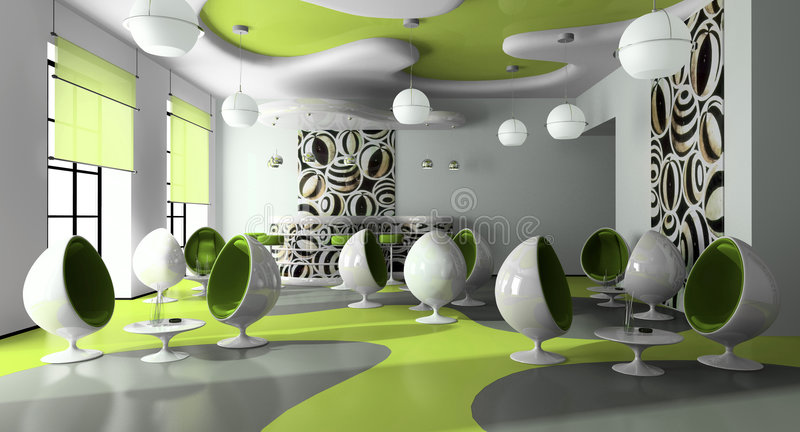 Intérieur du café moderne illustration de vecteur
