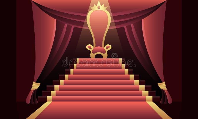 Intérieur du château avec le trône illustration libre de droits