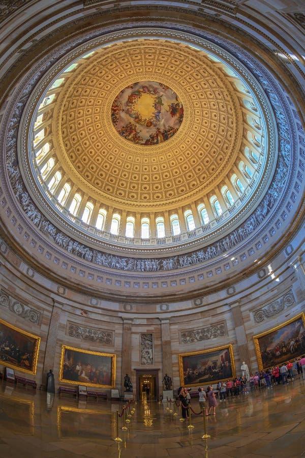 Intérieur du dôme de colline de Washington Capitol image stock
