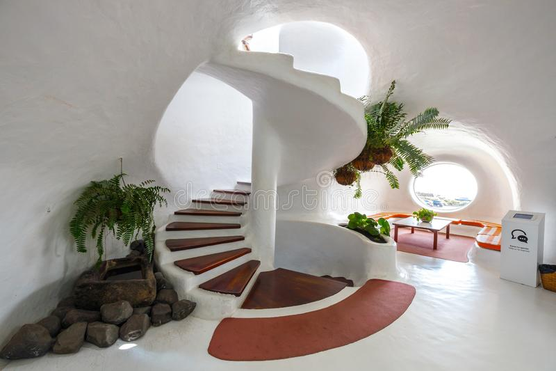 Intérieur du del Rio de mirador fait par Cesar Manrique, Lanzarote, Espagne photos libres de droits